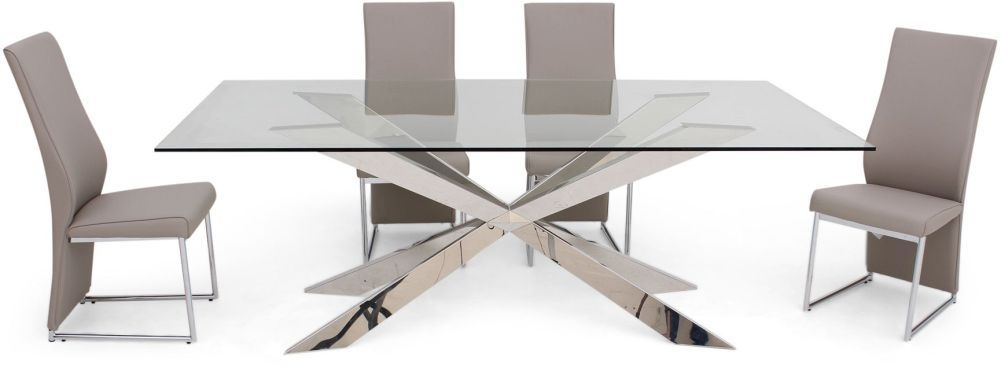 Gabriella Glass Dining Table and 4 Remo Chairs - Chrome and Taupe