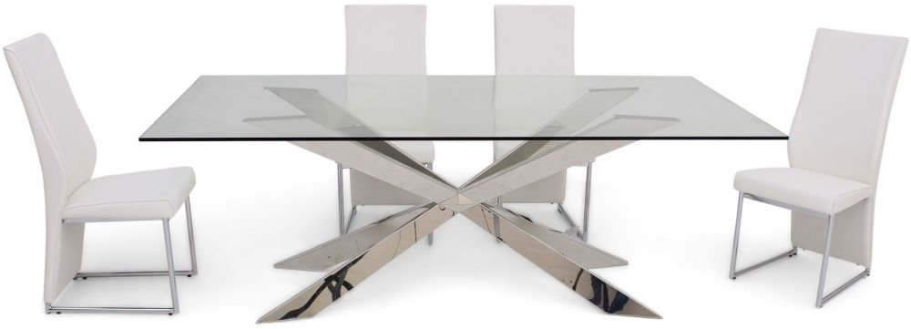 Gabriella Glass Dining Table and 4 Remo Chairs - Chrome and White