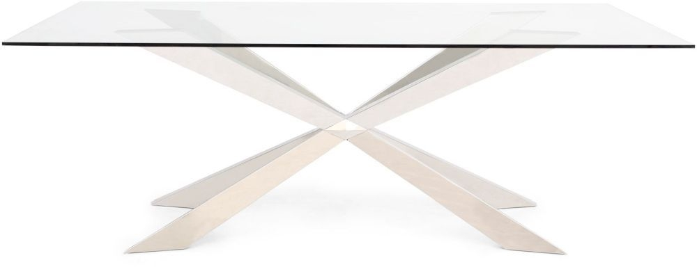 Gabriella Glass Dining Table with Stainless Steel Base - 210cm Rectangular