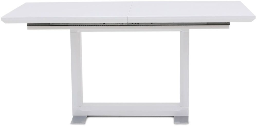Walpi White High Gloss Dining Table with Stainless Steel Base - 160cm-220cm Rectangular Extending