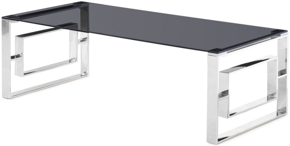 Harrera Coffee Table - Smoked Glass and Chrome