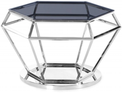 Hector Coffee Table - Smoked Glass and Chrome