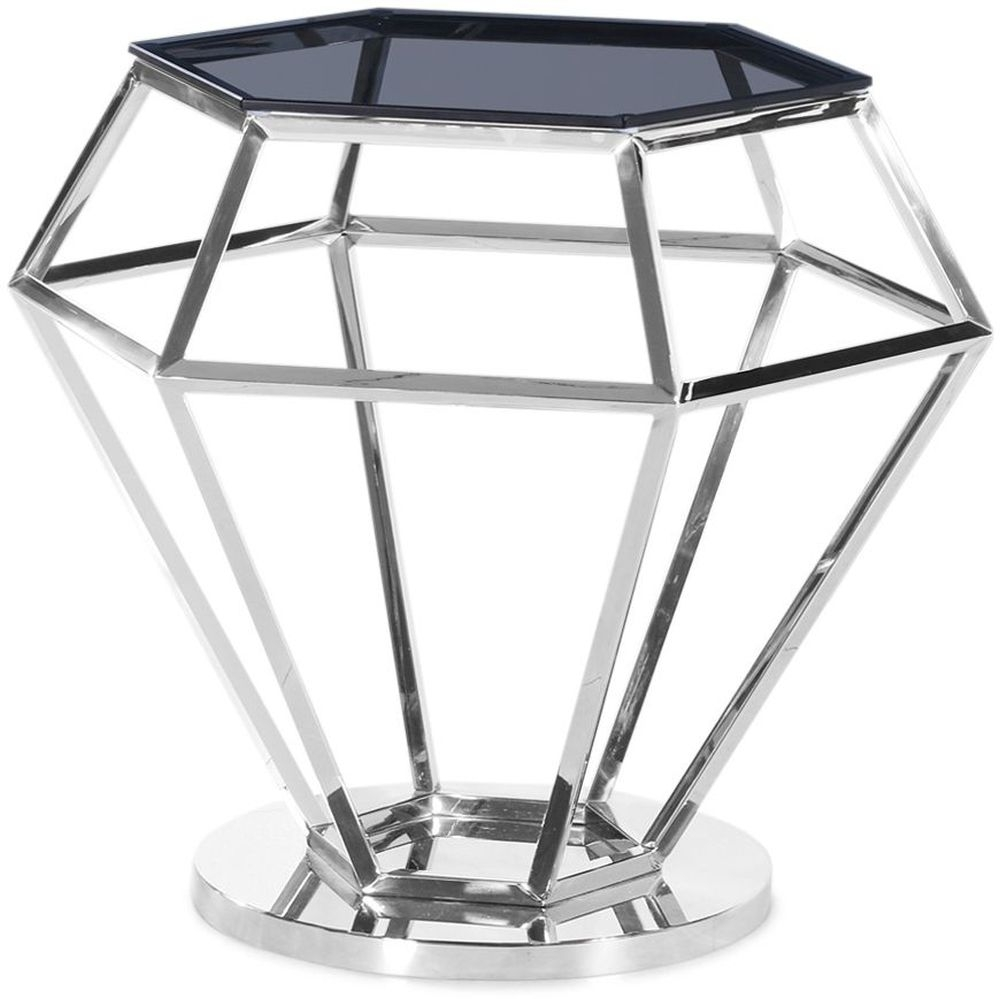 Hector Side Table - Smoked Glass and Chrome