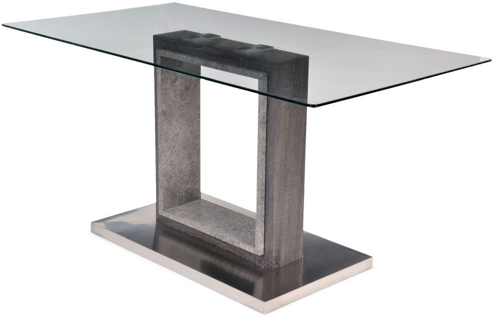 Hilton Grey High Gloss Dining Table with Glass Top - 150cm Rectangular