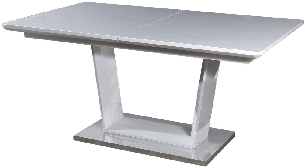 Jasmine Grey High Gloss Dining Table with Glass Top - 160cm-200cm Rectangular Extending