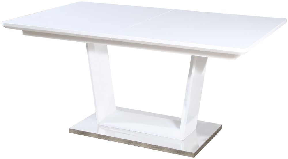 Jasmine White High Gloss Dining Table with Glass Top - 160cm-200cm Rectangular Extending
