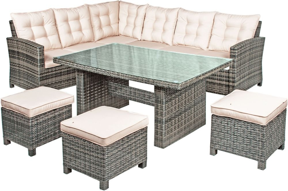 Kensington Pebble Grey Rattan Corner Dining Set with Glass Top - 145cm with 3 Seater Sofa and 3 Footstools