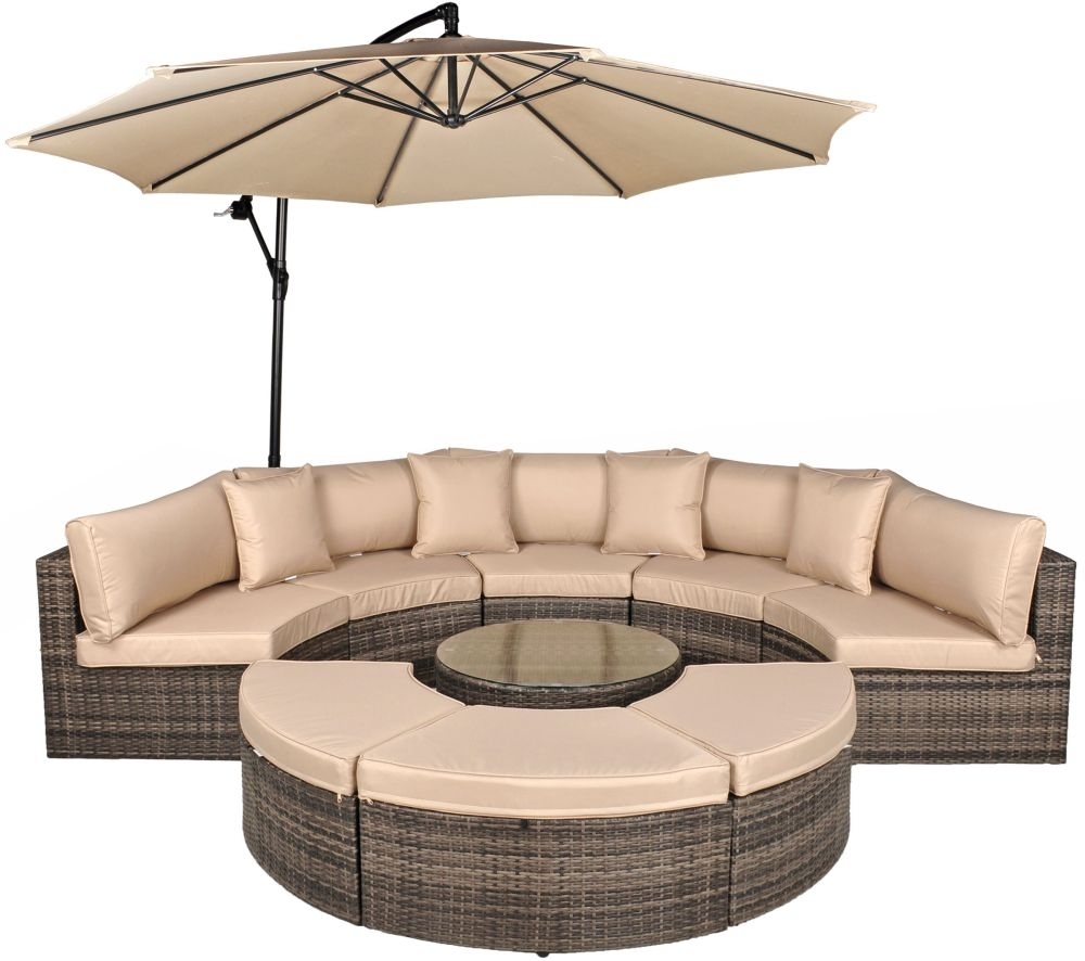 Kensington Pebble Grey Rattan Curved Half Moon Sofa Set with Glass Top Coffee Table and 3 Ottomans