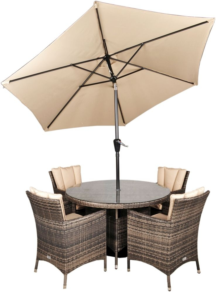 Kensington Pebble Grey Rattan Dining Set with Glass Top - 120cm Round with 4 Armchairs