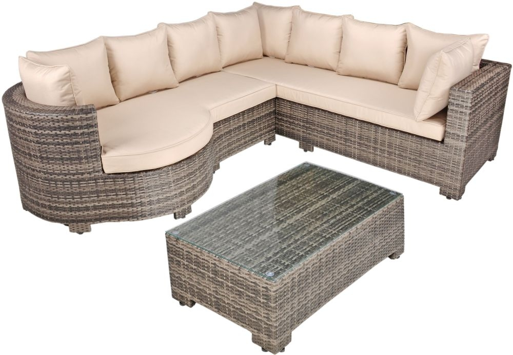 Kensington Pebble Grey Rattan Rounded Arm Corner Sofa Set with Glass Top Coffee Table