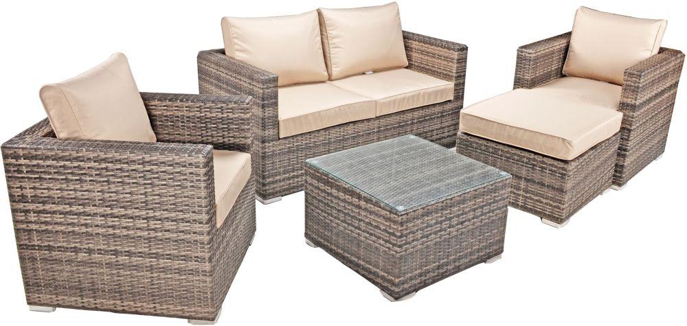 Kensington Pebble Grey Rattan Sofa Set with Glass Top Coffee Table and Ottoman