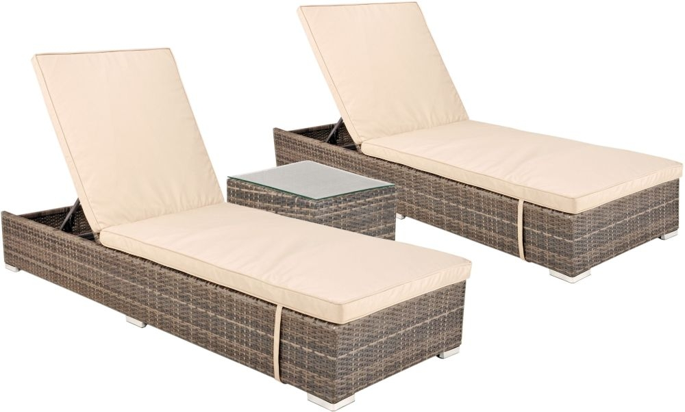 Kensington Pebble Grey Rattan Sunlounger Set with Glass Top Coffee Table