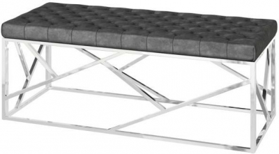Kieta Dark Grey Plush Velvet and Chrome Bench