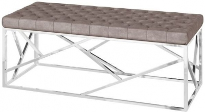 Kieta Mink Plush Velvet and Chrome Bench