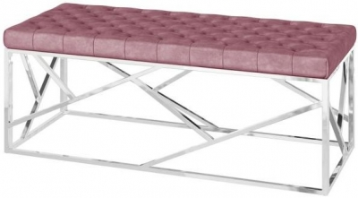 Kieta Pink Plush Velvet and Chrome Bench