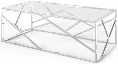 Kieta Glass and Chrome Coffee Table