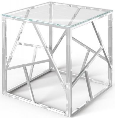 Kieta Glass and Chrome Side Table