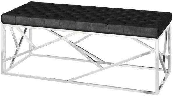 Kieta Black Plush Velvet and Chrome Bench