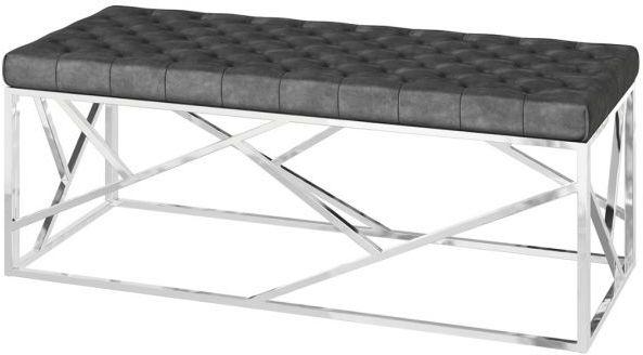 Kieta Dark Grey Plush Velvet and Chrome Bench