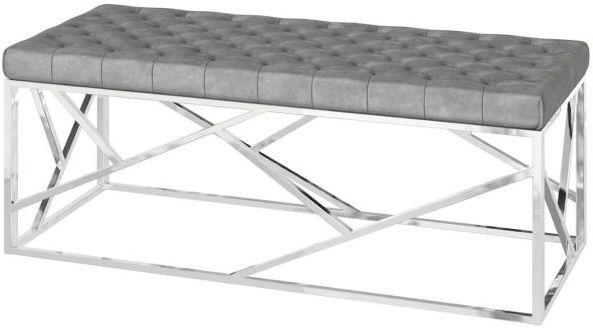 Kieta Silver Grey Plush Velvet and Chrome Bench