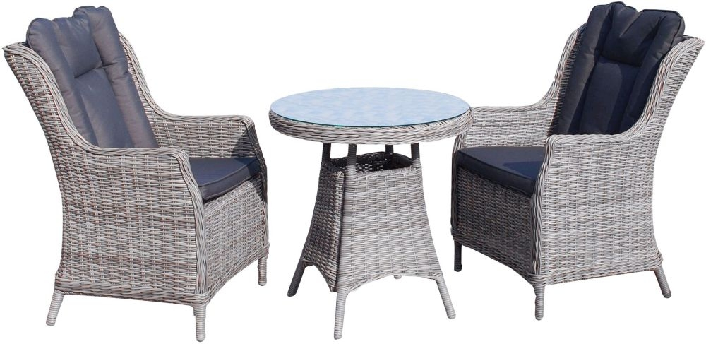Knightsbridge Grey Rattan Bistro Dining Set with Glass Top - 70cm Round with 2 Chairs