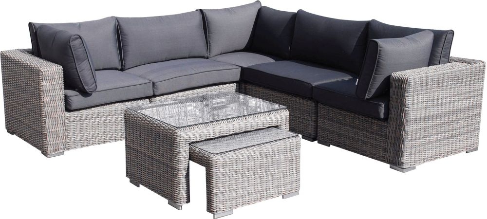 Knightsbridge Grey Rattan Corner Sofa Set with Glass Top Coffee Table