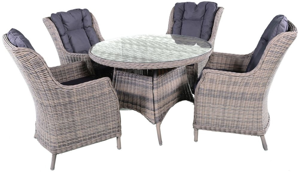 Knightsbridge Grey Rattan Dining Set with Glass Top - 110cm Round with 4 Dining Chairs