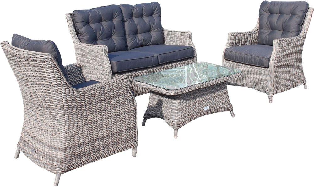 Knightsbridge Grey Rattana Sofa Set with Glass Top Coffee Table