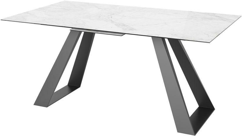 Lavante Light Grey Marble Effect Glass Top Extending Dining Table