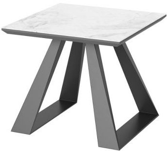 Lavante Light Grey Marble Effect Glass Top Side Table