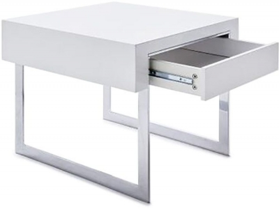 Lema White High Gloss Side Table