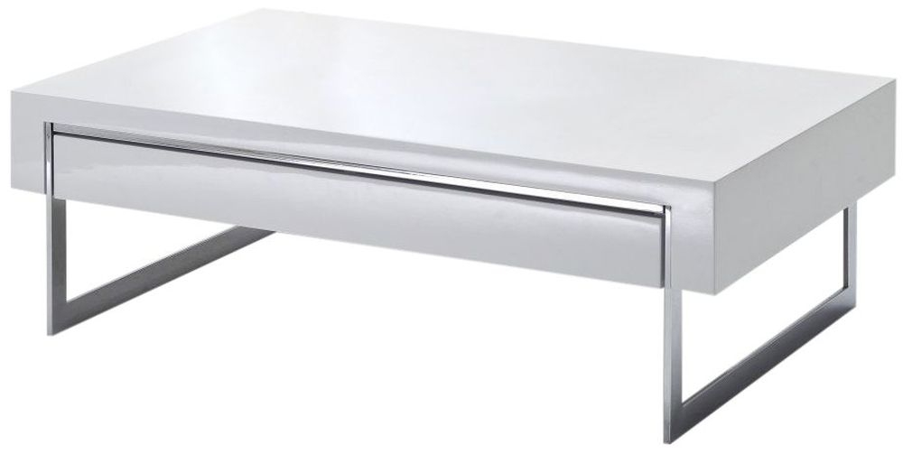 Lema White High Gloss Coffee Table with Chrome Legs - 1 Drawer