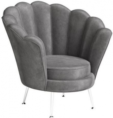 Erica Dark Grey Velvet and Chrome Lounge Chair