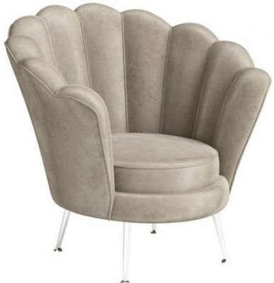 Erica Mink Velvet and Chrome Lounge Chair