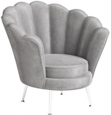 Erica Silver Grey Velvet and Chrome Lounge Chair