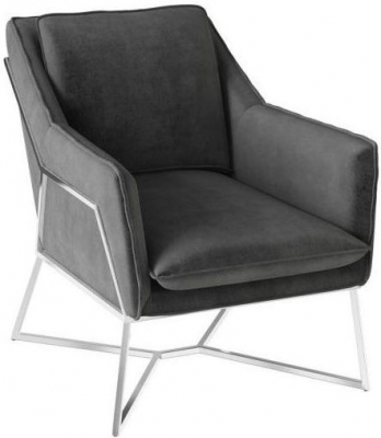 Lara Dark Grey Velvet and Chrome Lounge Chair