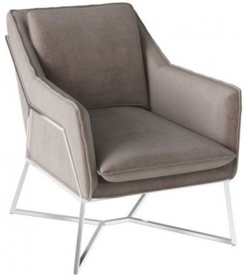 Lara Mink Velvet and Chrome Lounge Chair