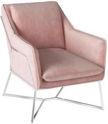Lara Pink Velvet and Chrome Lounge Chair