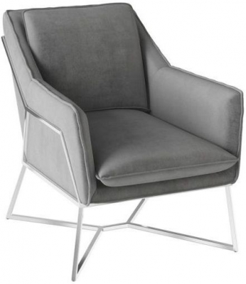 Lara Silver Grey Velvet and Chrome Lounge Chair