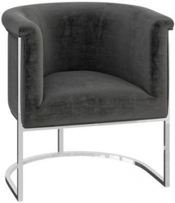 Martina Dark Grey Velvet and Chrome Lounge Chair