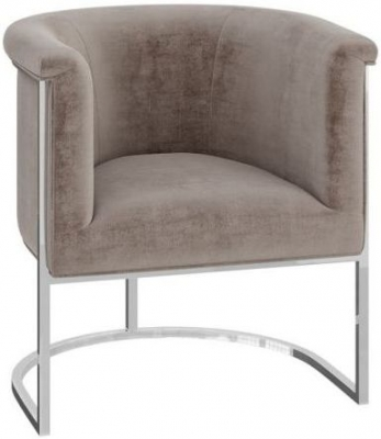Martina Mink Velvet and Chrome Lounge Chair