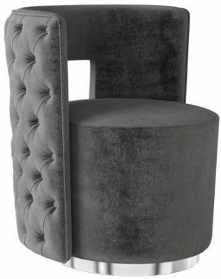 Tamara Dark Grey Velvet and Chrome Lounge Chair