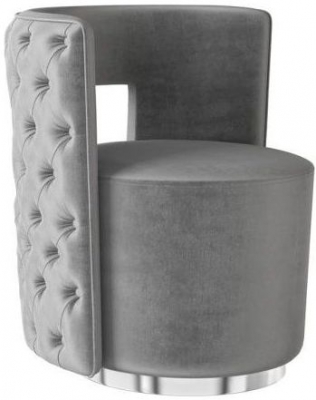 Tamara Silver Grey Velvet and Chrome Lounge Chair