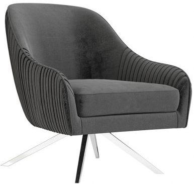 Bianca Dark Grey Velvet and Chrome Lounge Chair