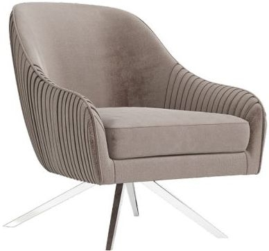 Bianca Mink Velvet and Chrome Lounge Chair