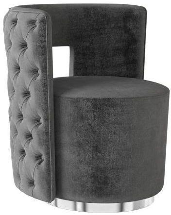 Tamara Dark Grey Velvet and Chrome Lounge Chair