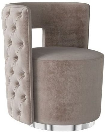 Tamara Mink Velvet and Chrome Lounge Chair