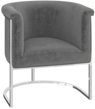 Martina Silver Grey Velvet and Chrome Lounge Chair