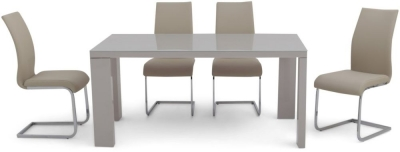 Lucca Grey High Gloss Dining Table and 4 Paolo Cream Chairs