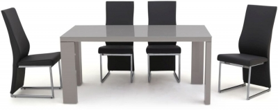 Lucca Grey High Gloss Dining Table and 4 Paolo Grey Chairs